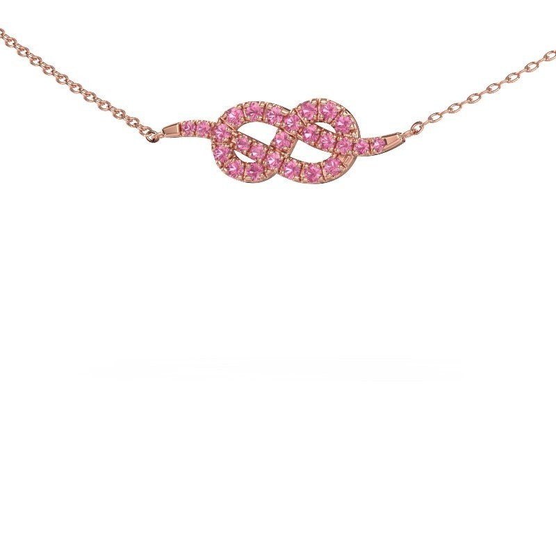 Bar ketting Infinity 1 375 rosé goud roze saffier 1.1 mm