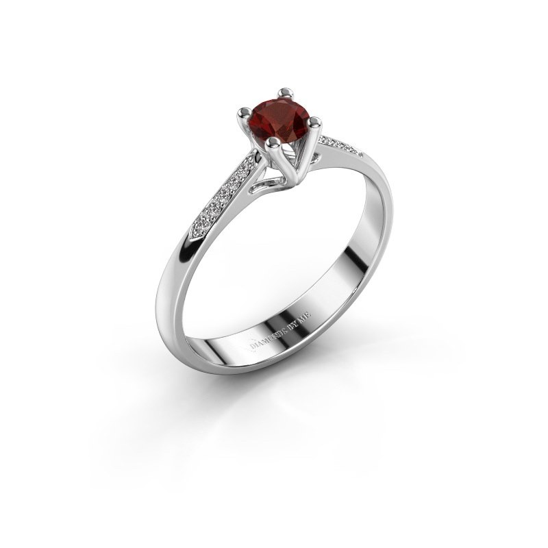 Promise ring Janna 2 585 witgoud granaat 4 mm