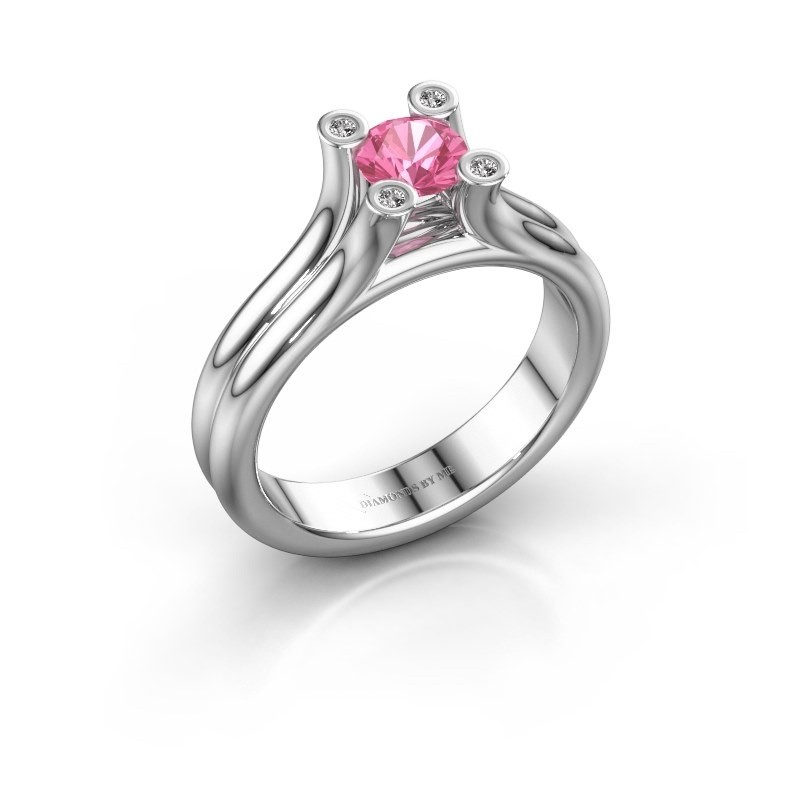 Engagement ring Stefanie 1 375 white gold pink sapphire 5 mm