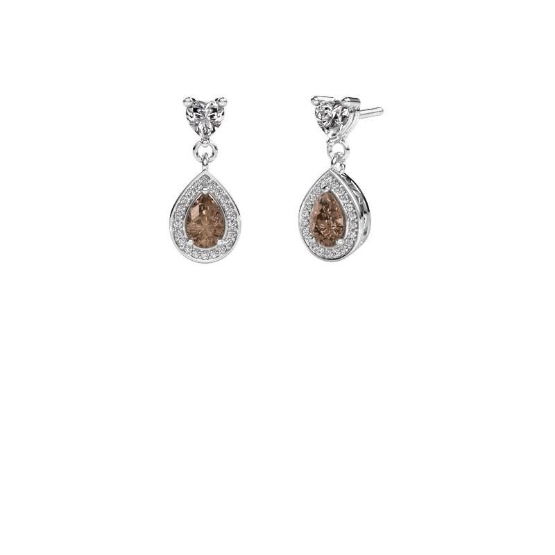 Drop earrings Susannah 950 platinum brown diamond 1.51 crt
