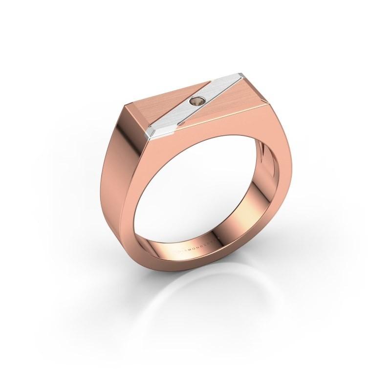 Men's ring Dree 3 585 rose gold smokey quartz 2 mm