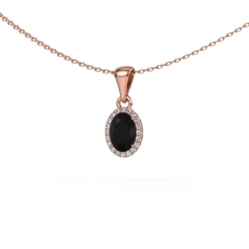 Anhänger Seline ovl 375 Roségold Schwarz Diamant 1.15 crt