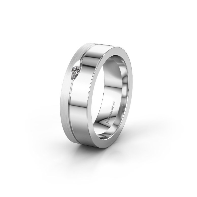 Trouwring WH0329L16B 925 zilver zirkonia ±6x2 mm
