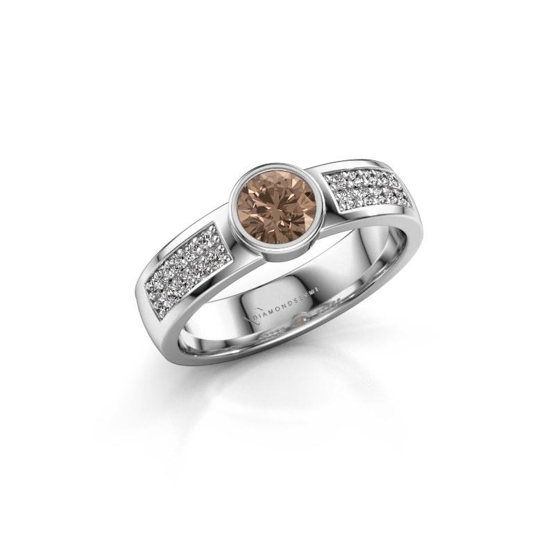 Engagement ring Ise 3 950 platinum brown diamond 0.55 crt