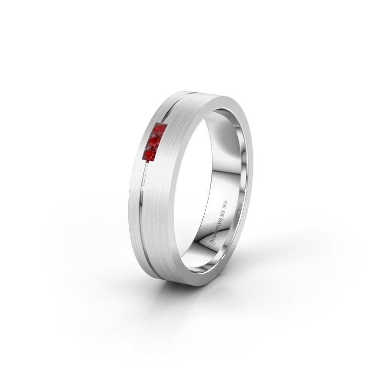 Trouwring WH0156L14X 925 zilver robijn ±4x1.4 mm