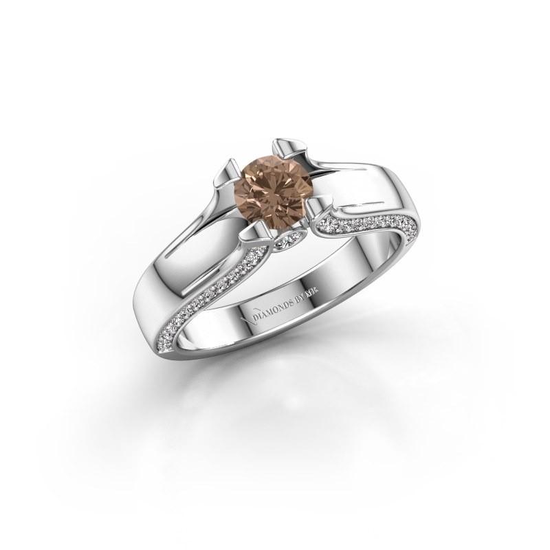 Bague de fiançailles Jeanne 1 585 or blanc diamant brun 0.82 crt