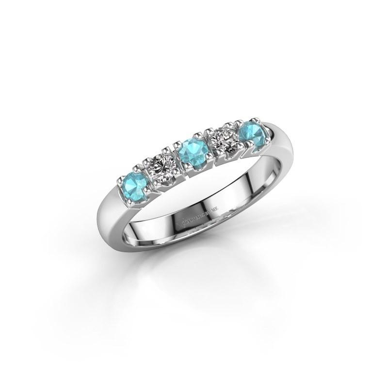 Engagement ring Rianne 5 585 white gold blue topaz 2.7 mm