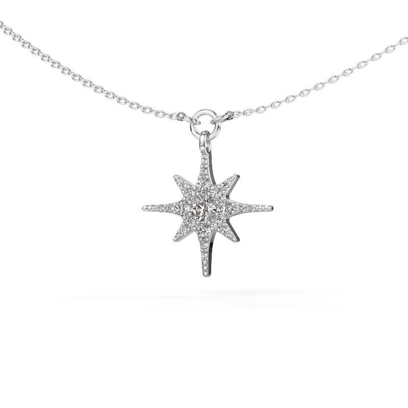 Halsketting Star 925 zilver diamant 0.29 crt