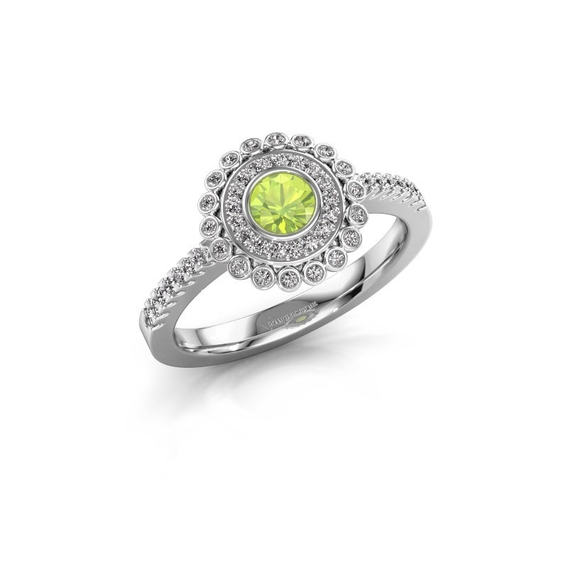 Engagement ring Shanelle 925 silver peridot 4 mm