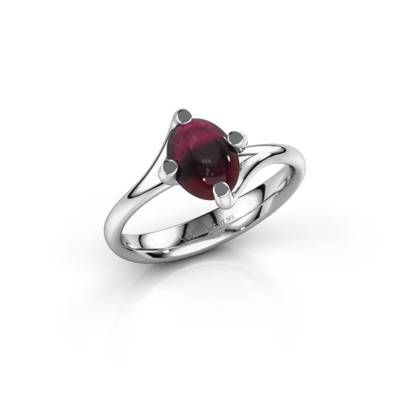Ring Nora 950 platina granaat 8x6 mm