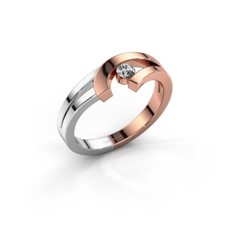 Ring Yentl 585 rosé goud zirkonia 3 mm