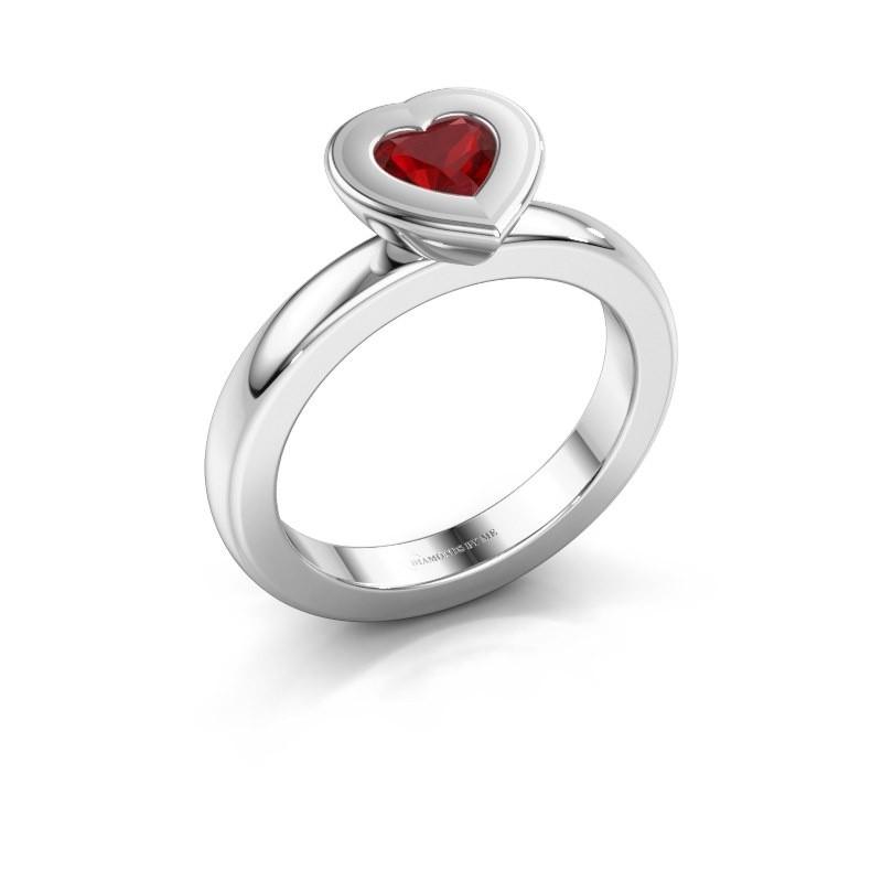 Stapelring Eloise Heart 925 zilver robijn 5 mm