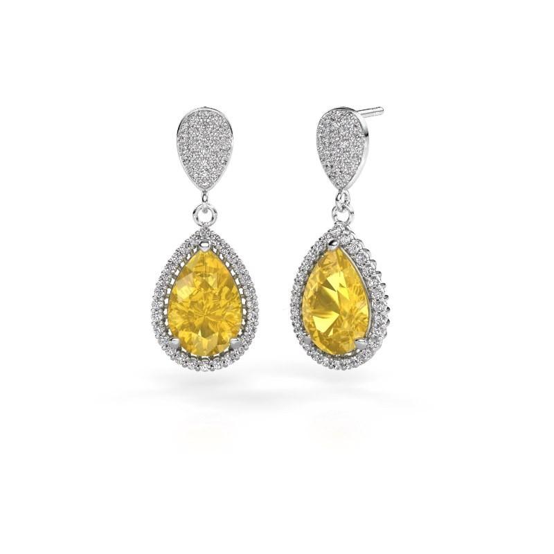 Drop earrings Cheree 2 585 white gold yellow sapphire 12x8 mm
