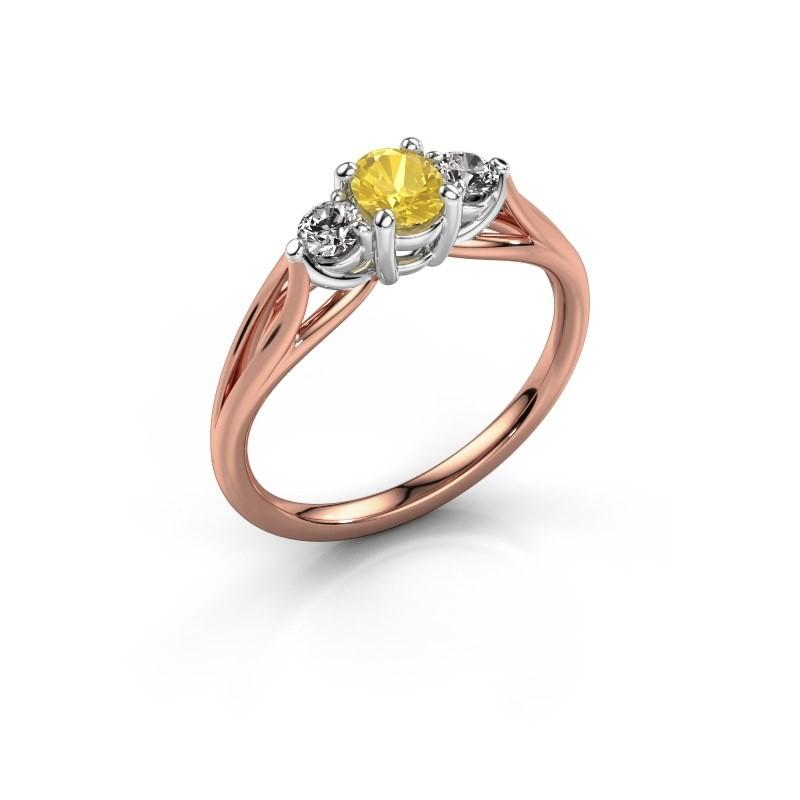 Verlovingsring Amie OVL 585 rosé goud gele saffier 7x5 mm