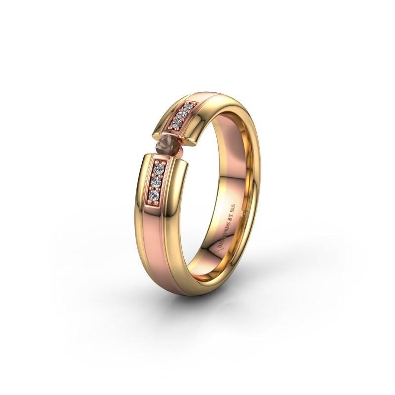 Wedding ring WH2128L26C 585 rose gold smokey quartz ±5x2 mm