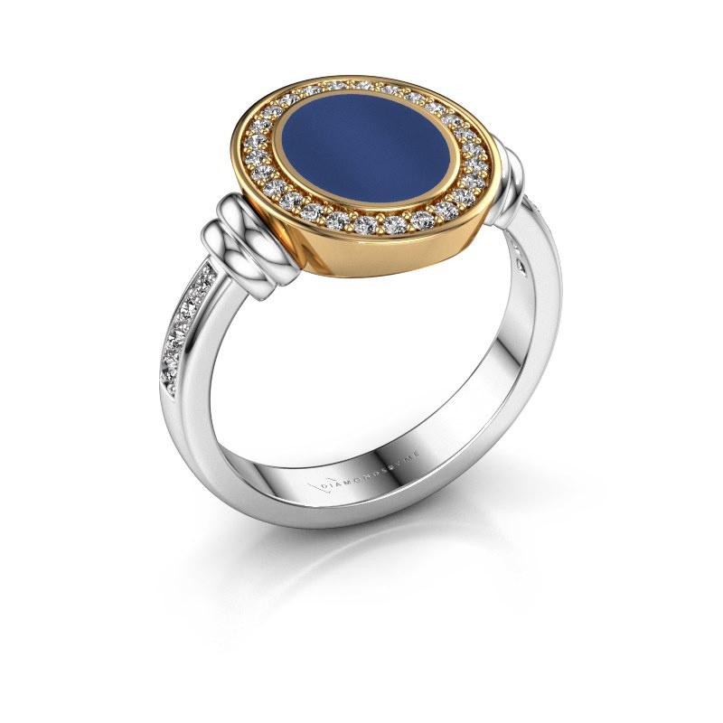 Zegelring Bailey 585 witgoud lapis lazuli 10x8 mm