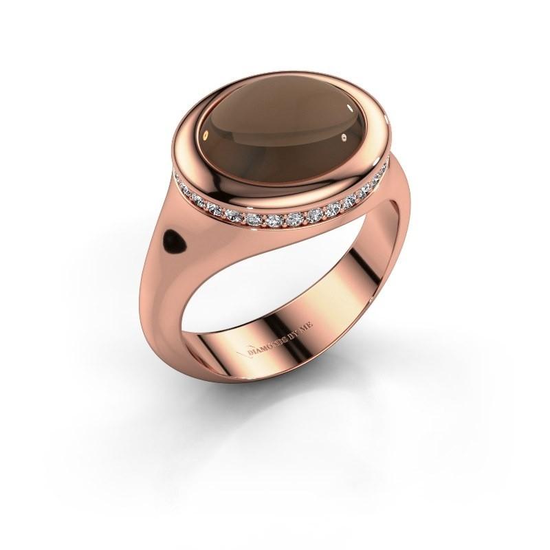 Ring Lesli ovl 585 rosé goud rookkwarts 12x10 mm