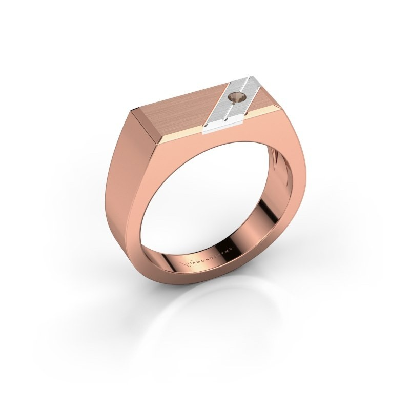 Men's ring Dree 5 585 rose gold smokey quartz 2.4 mm