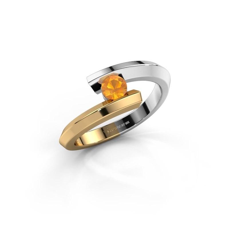 Ring Paulette 585 witgoud citrien 3.4 mm