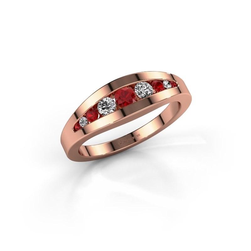 Ring Oneida 375 rose gold ruby 3 mm