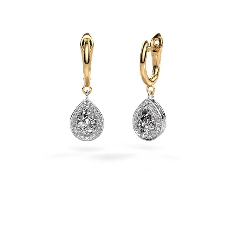 Drop earrings Ginger 1 585 white gold zirconia 7x5 mm