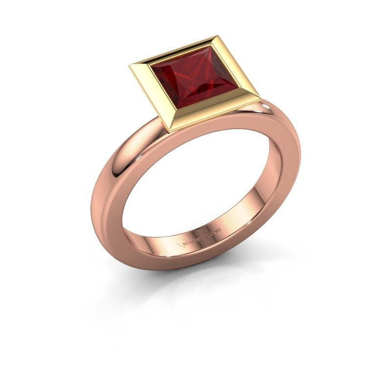 Stapelring Trudy Square 585 rosé goud robijn 6 mm
