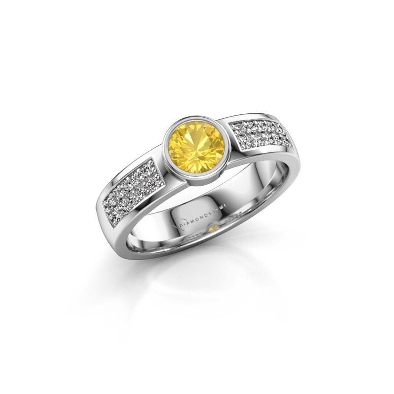 Engagement ring Ise 3 950 platinum yellow sapphire 4.7 mm