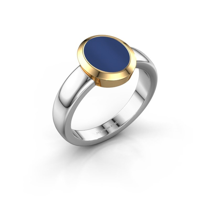 Signet ring Freeda 1 585 white gold lapis 10x8 mm