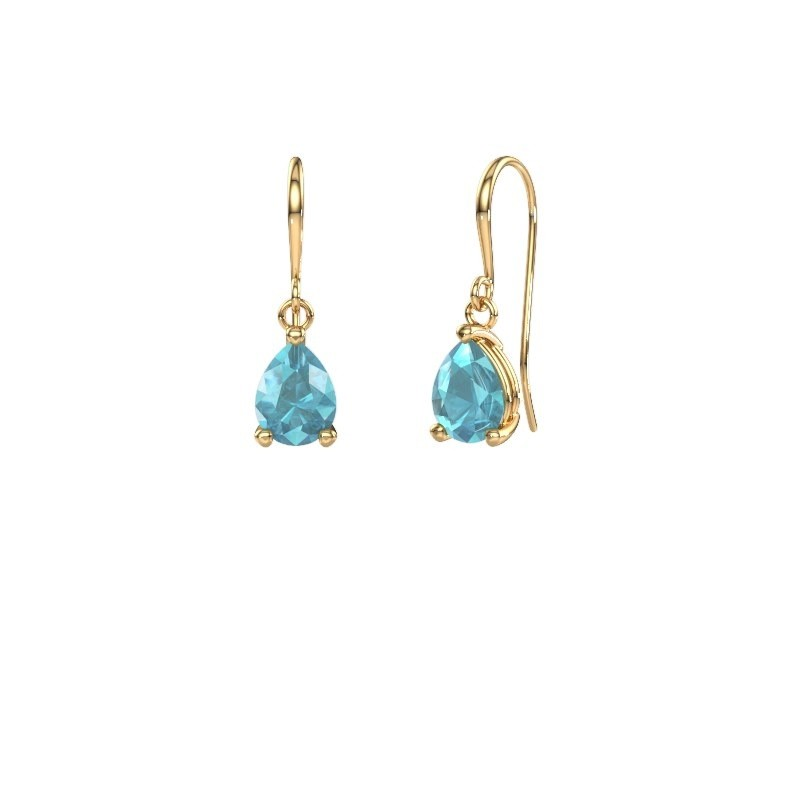 Drop earrings Laurie 1 585 gold blue topaz 8x6 mm