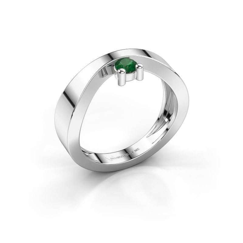 Verlovingsring Elisabeth 925 zilver smaragd 3.4 mm