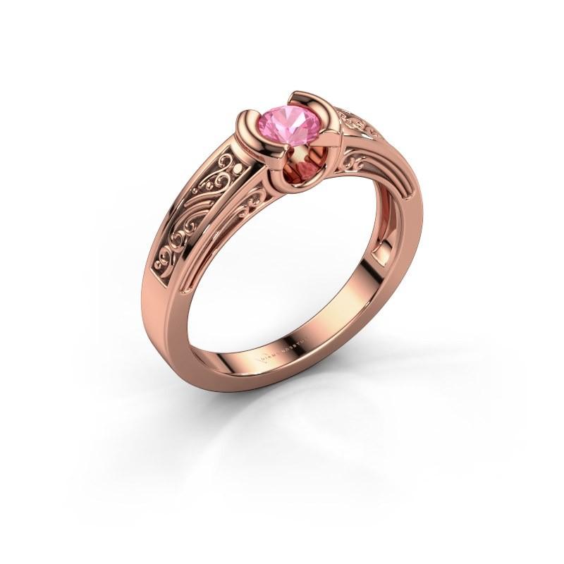 Verlovingsring Elena 375 rosé goud roze saffier 4 mm