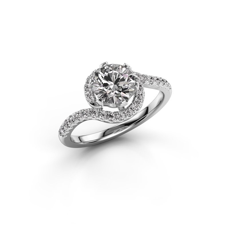 Engagement ring Elli 950 platinum diamond 1.31 crt
