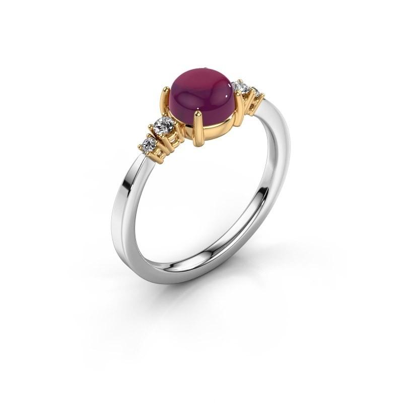 Ring Regine 585 witgoud rhodoliet 6 mm