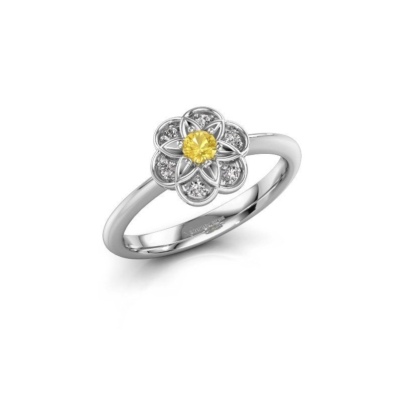 Engagement ring Uma 925 silver yellow sapphire 3 mm