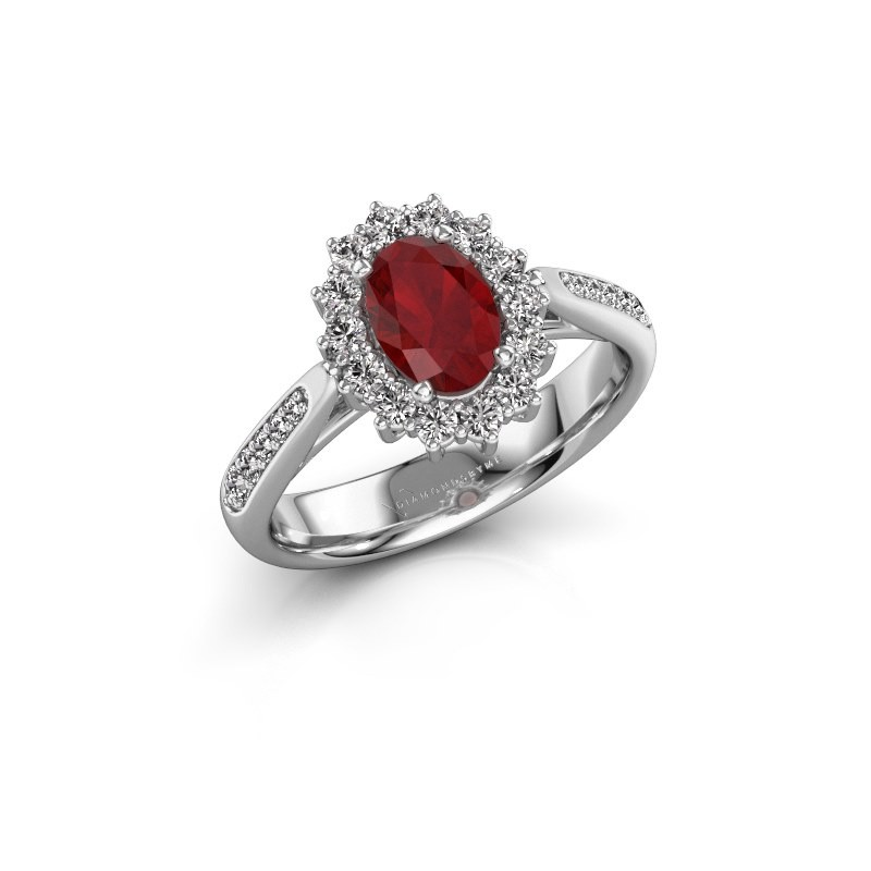 Engagement ring Margien 2 585 white gold ruby 7x5 mm
