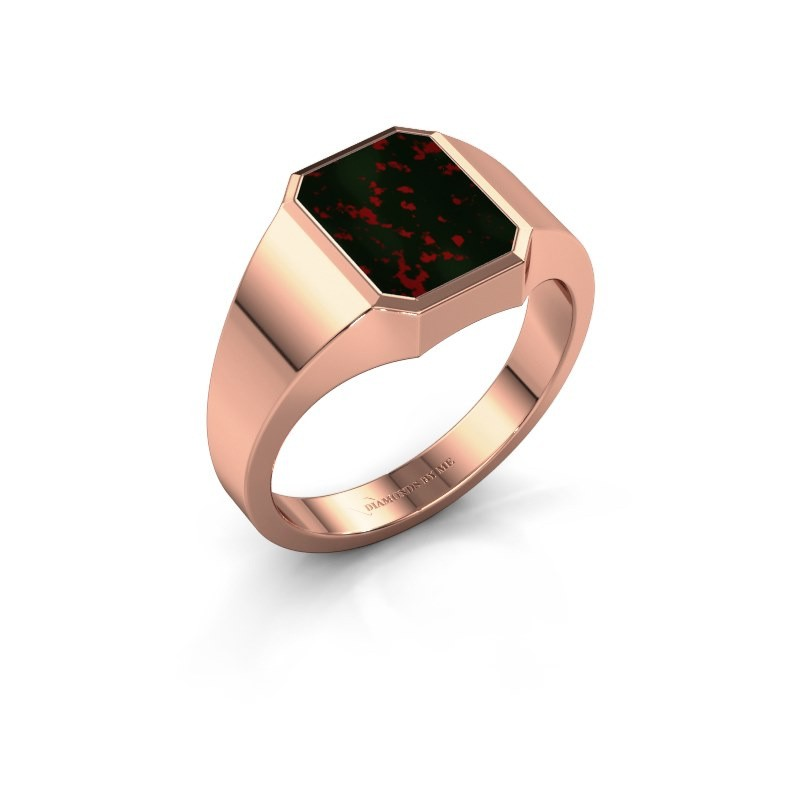 Signet ring Glenn 1 375 rose gold bloodstone 10x8 mm