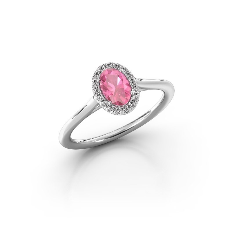 Engagement ring Seline 1 950 platinum pink sapphire 6x4 mm