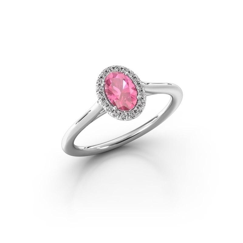 Verlobungsring Seline 1 950 Platin Pink Saphir 6x4 mm