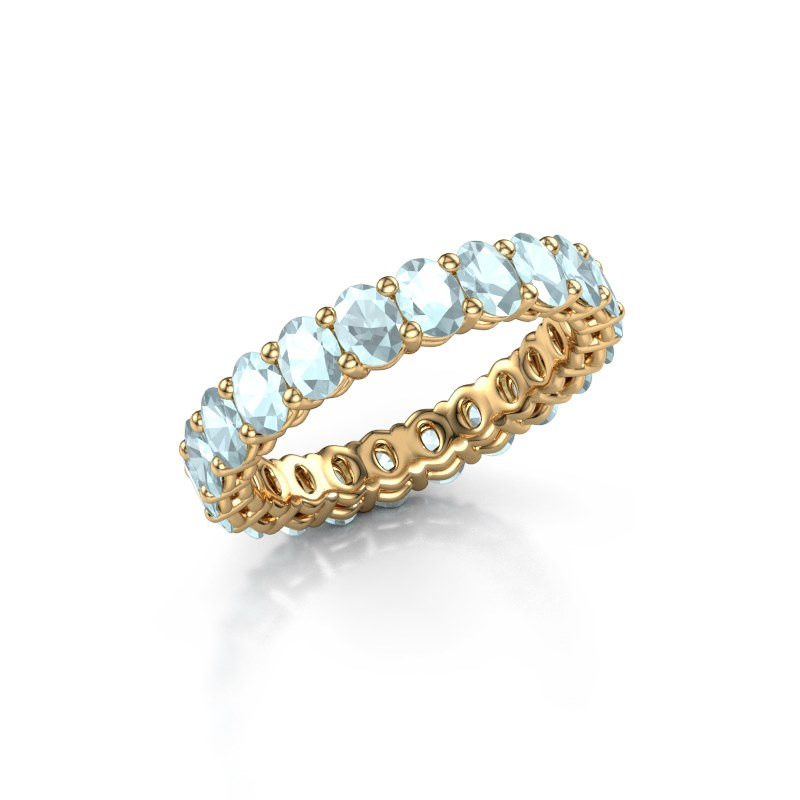 Vorsteckring Heddy OVL 3x4 375 Gold Aquamarin 4x3 mm