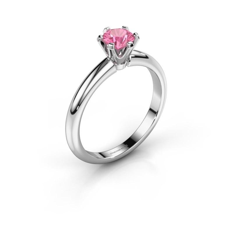 Verlovingsring Tiffy 1 925 zilver roze saffier 5 mm