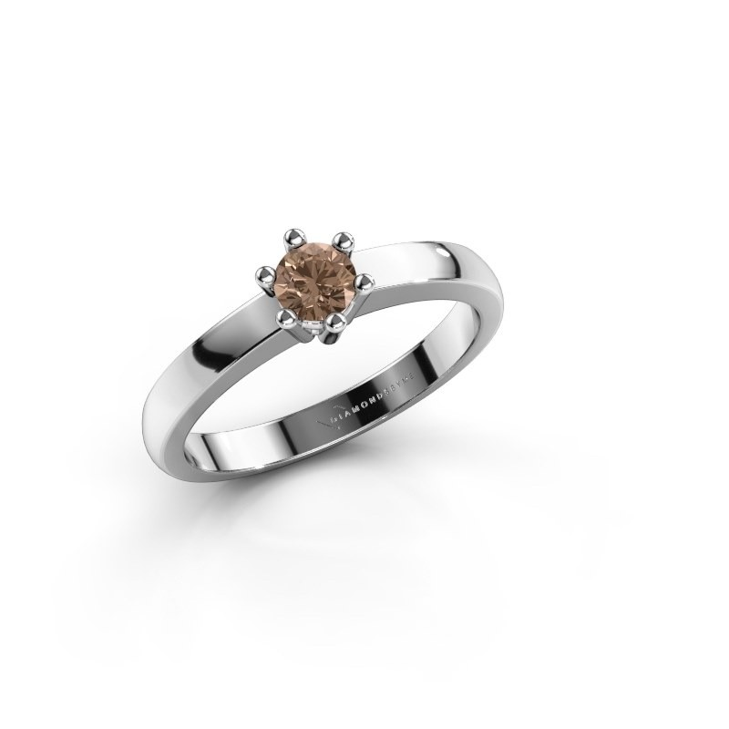 Verlovingsring Luna 1 585 witgoud bruine diamant 0.20 crt