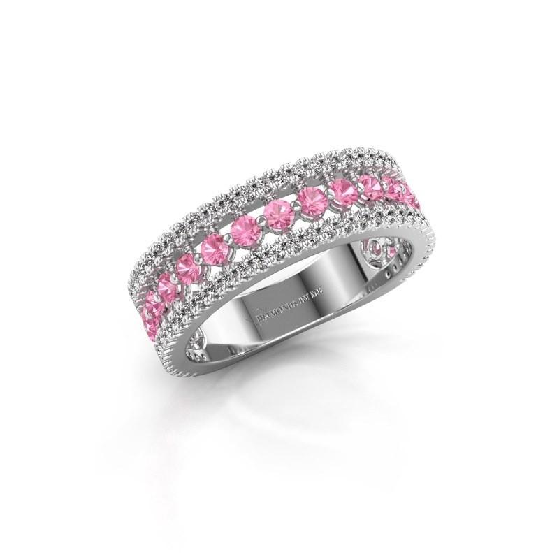 Verlovingsring Elizbeth 1 950 platina roze saffier 2 mm