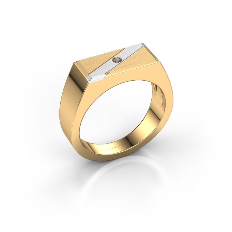 Men's ring Dree 3 585 gold smokey quartz 2 mm