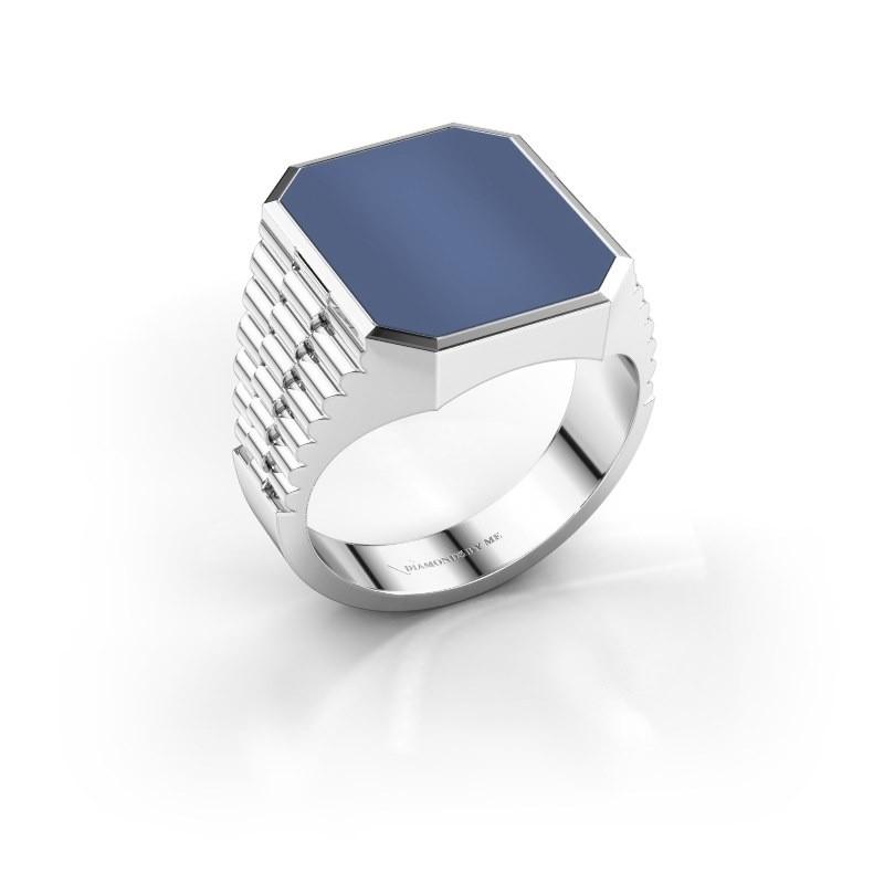 Rolex stijl ring Brent 4 585 witgoud blauw lagensteen 16x13 mm