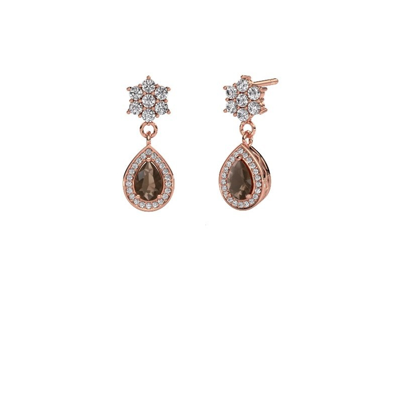 Drop earrings Era 585 rose gold smokey quartz 6x4 mm