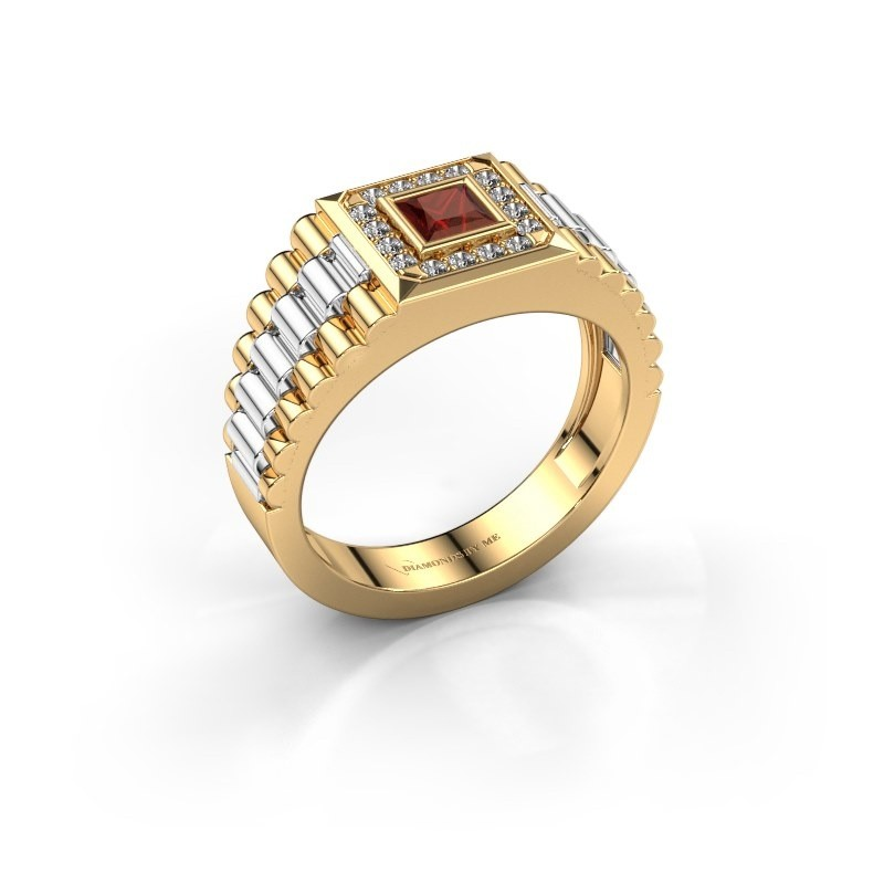 Heren ring Zilan 585 goud granaat 4 mm