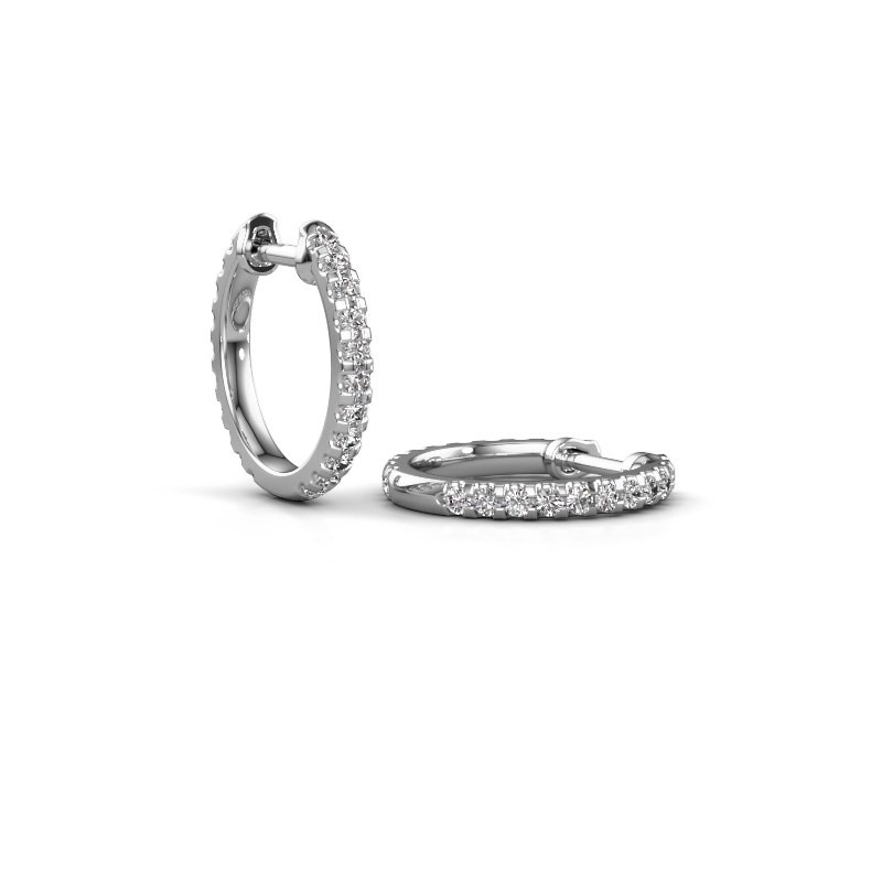 Creole Jackie 12.5 mm A 585 Weißgold Diamant 0.63 crt