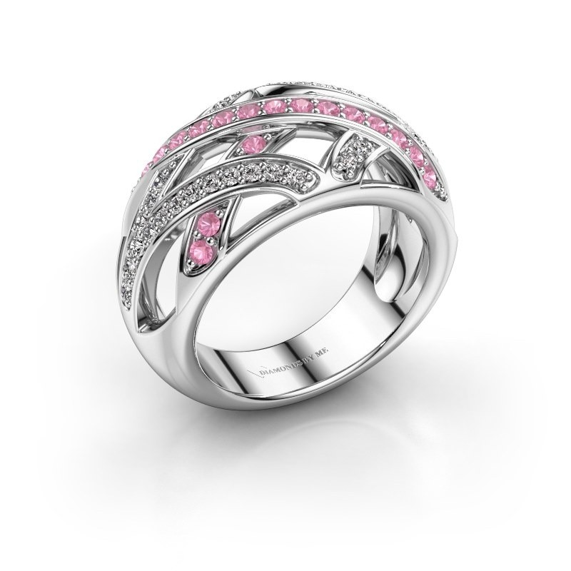 Ring Yinthe 925 zilver roze saffier 1.5 mm
