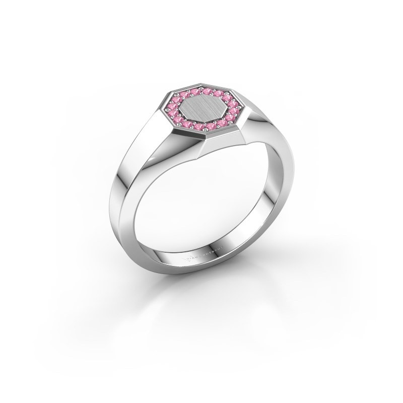 Pinky ring Floris Octa 1 925 silver pink sapphire 1.2 mm