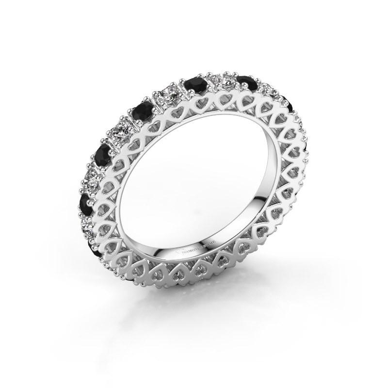 Bague superposable Hailey 585 or blanc diamant noir 1.287 crt